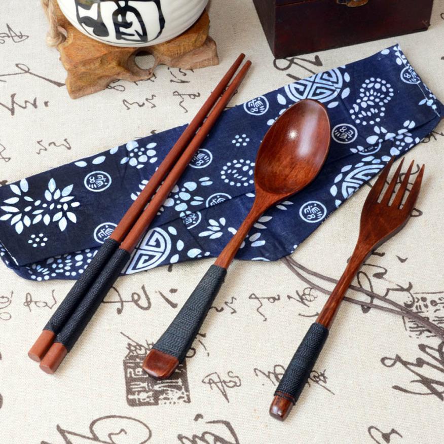 Saingace Japanese Vintage Wooden Fork Tableware 3pcs Set New Gift Brown Dinnerware  Sets(China)