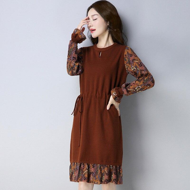 Мода выдалбливают женщин трикотажные платья Европейский стиль печати цветочный длинным рукавом круглым воротом эластичный дамы мягкие платья HM1133