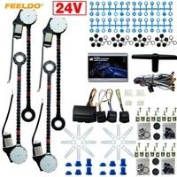 MOTOBOTS 1Set DC24V Car/Truck Universal 4 Doors Electronice Power Window kits With 8pcs/Set Swithces & Harness #FD 4498