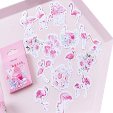 45pcs/pack Cute Pink Flamingo Sticker mini paper Self-Adhesive Decoration label Stickers DIY Diary Stationery