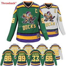 Throwback Jersey Women s Mighty Ducks Jersey  96 Charlie Conway 33 Greg  Goldberg 99 Adam Banks 51f3abad75