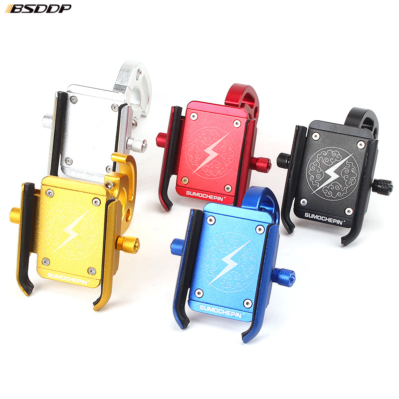 Aluminum Alloy Universal Motorcycle Handle Bar Mount Cell Phone Holder Stand With Hook For 4-6.5 Inch Mobile Phones GPS Etc