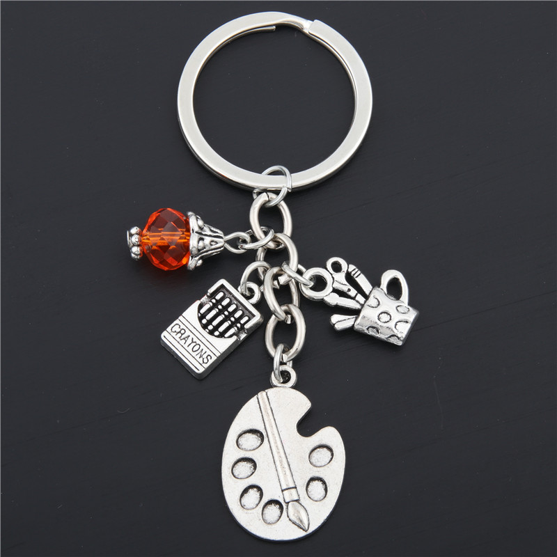 1pc Painters Tools-Palette&Brush Keychain With Bead Jewelry Tibetan Silver Charm Pendant Key Chain Ring DIY Fit Keychain E1669