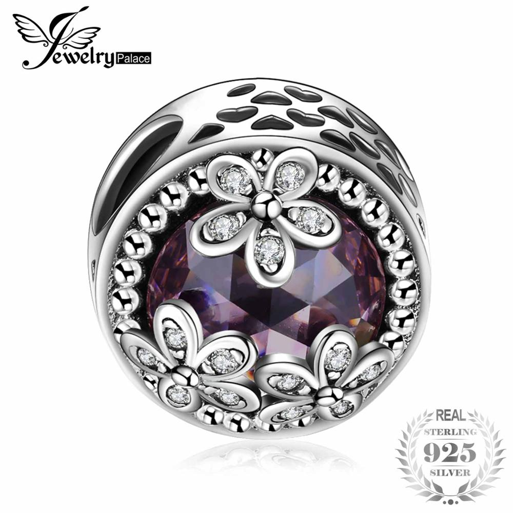 Sterling Silver Beads Charms Sparkling Daisies Cubic Zirconia Charm Fit Bracelet Bangles Flower Silver Jewelry