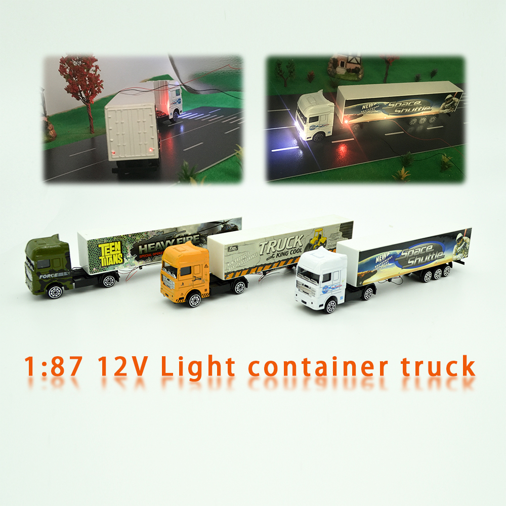 HO 1:87 Style Alloy Model Light Truck Container For Architeture Model Making 12V Led