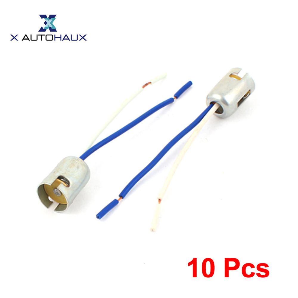 X Autohaux 10 Pcs 1156 Ba15s S25 Parallel Car Tail Brake Bulb Led Light Extension Socket Connector