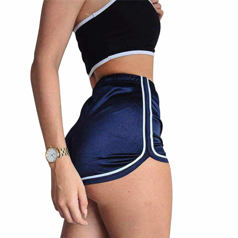 High Waisted Ladies Silk Shorts  Summer Slim Fit Elastic Booty Shorts For Women Hot Sexy Pole Dance Shorts Pantalon Femme