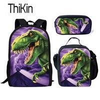 THIKIN 3 stücke Kinder Schule Taschen Set für Kinder Tyrannosaurus Rex Dinosaurier Schul Jungen Kühle Schule Rucksack Dino Schule Bookbag
