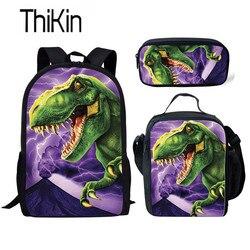 THIKIN 3 sztuk szkolne dla dzieci zestaw toreb dla dzieci Tyrannosaurus Rex dinozaur tornister chłopcy fajne plecak szkolny Dino szkoły Bookbag