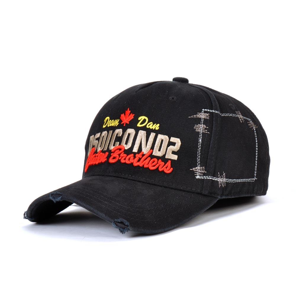 DSQICOND2 Snapback-Cap Baseball-Caps Casquette Women Cap Gorras-Bone Dad-Hats Black Mens