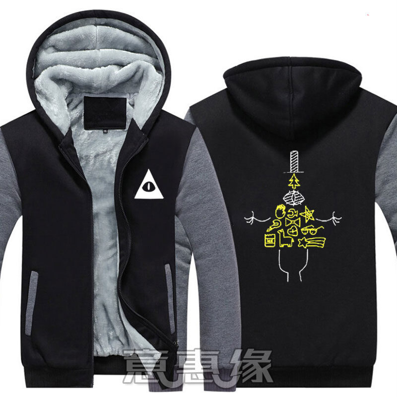 2018 New Winter Jackets And Coats Gravity Falls Hoodie Anime Akane Tsunemori  Hooded Thick Zipper Men Sweatshirts