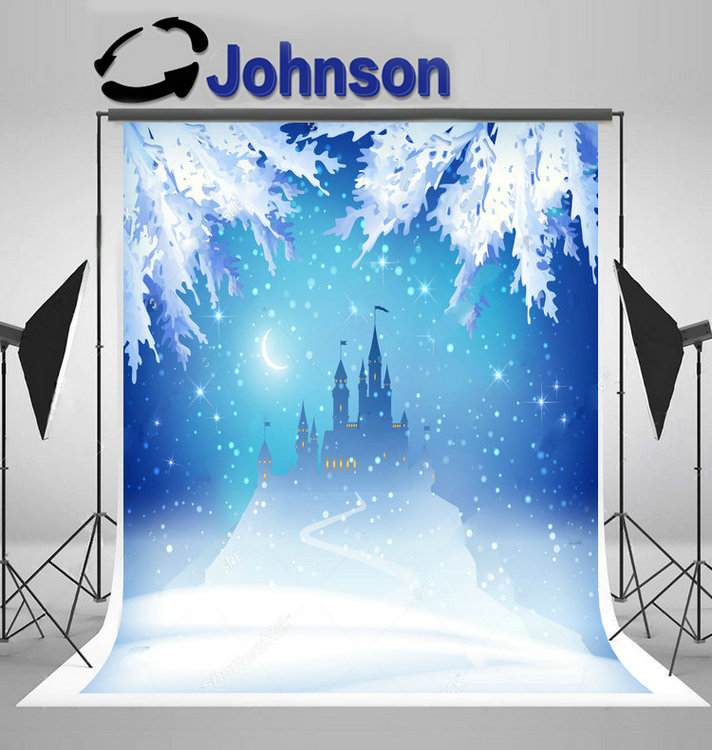 winter princess ice castle silhouette hill half moon snow leaves backdrop Vinyl cloth  Computer print christmas background