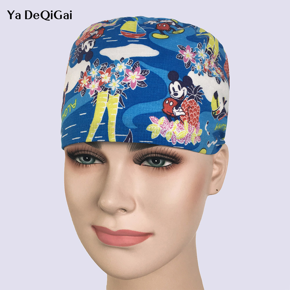 New Women Pharmacy Doctors Surgical Scrub Home Medical OR Skull Scrub Caps Surgical Surgeon's Surgery Hat In Camouflage Color