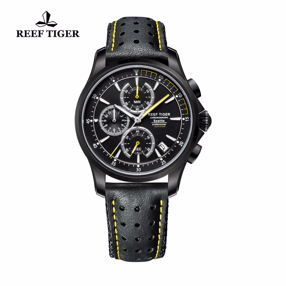 Reef Tiger/RT Mens Quartz Sport Watches with Chronograph and Date Black Steel Super Luminous Casual Stop Watch RGA1663 цена в Москве и Питере