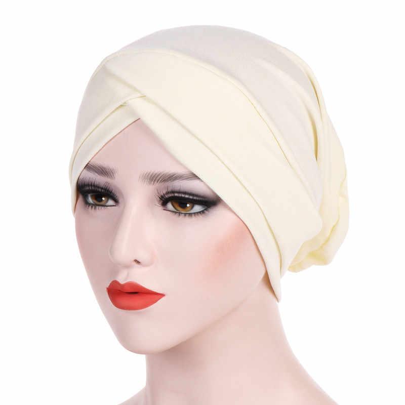 2018 Mulheres Headband do Turbante Muçulmano Plissado Câncer Chemo Cabelo Chapéus Beanie Cap Bandanas Lenço de Cabeça Envoltório Headwear Treino PJ0824