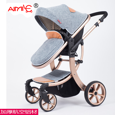2018 EU Stroller Brand Baby Europe Stroller 2 In 1 High Landscape Three-dimensional Four Round Carts Golden Frame 9 Colors russian wholesale new luxury baby stroller 3 in 1 high landscape three dimensional four round baby stroller carts strollers