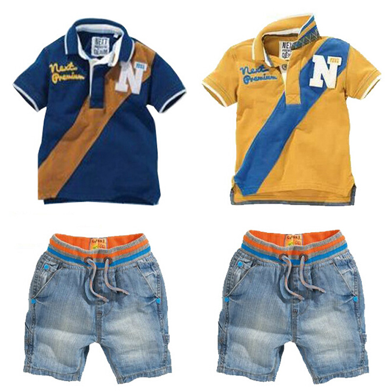 2017 Summer Fashion Children Clothing sets,Pure cotton Blue or yellow short-sleeved letter T-shirt+Jeans,kids clothes sets 2pcs children outfit clothes kids baby girl off shoulder cotton ruffled sleeve tops striped t shirt blue denim jeans sunsuit set