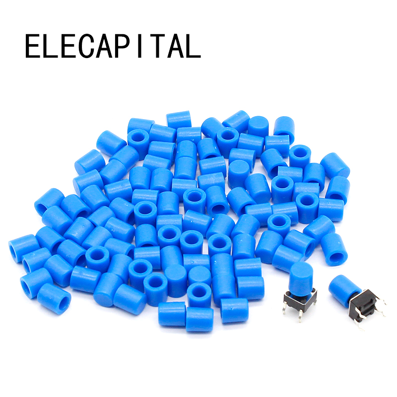 100pcs lot Blue Plastic Cap Hat for 6 6mm G61 Tactile Push Button Switch Lid Cover