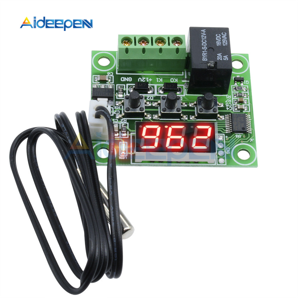 W1209 5V Red Blue LED thermostat Temperature Control Switch Sensor With Cable