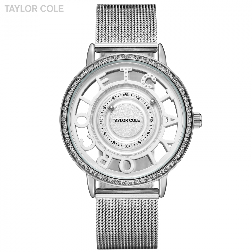 Taylor Cole Wrist Watches Women Reloj Mujer Round Silver Crystal Bead Analog Steel Band Clock Ladies Watch Horloge Dames /TC131