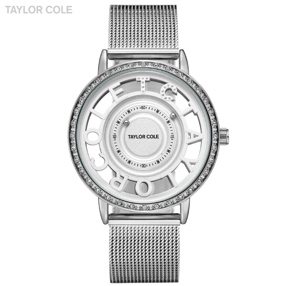 Taylor Cole Wrist Watches Women Reloj Mujer Round Silver Crystal Bead Analog Steel Band Clock Ladies Watch Horloge Dames /TC131
