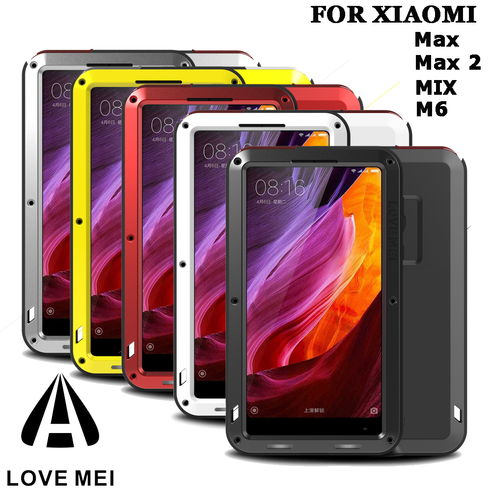 Original LOVE MEI extrême métal Alu mi num Dirt boîtier étanche puissant pour Xiao mi Max/mi Max (6.44 pouces)/mi X 2 S + Gorilla Glass