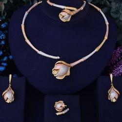 GODKI Bamboo Knot Rose Flower Luxury 3 Tone Women Nigerian Wedding Naija Bride Cubic Zirconia Necklace Dubai 4PCS Jewelry Set