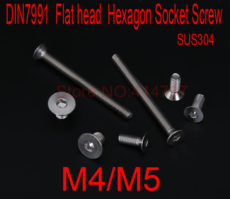 DIN7991 Stainless Steel A2  M4/M5 Flat head  Hexagon Hex Socket Screws countersunk Cap Screw Length 6mm--80mm m4 din7991 hexagon hex socket countersunk flat head cap screws 304 stainless steel diy home maintain matel working
