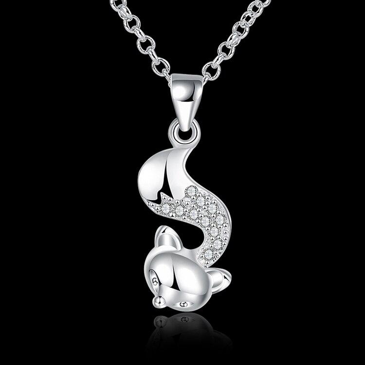 52937e94e3f44 SPCN820 Women s 925 Sterling Silver Fox Necklaces Pendants With Cubic  Zirconia Animal Necklaces 925 Sterling Silver Jewelry-in Pendant Necklaces  from ...