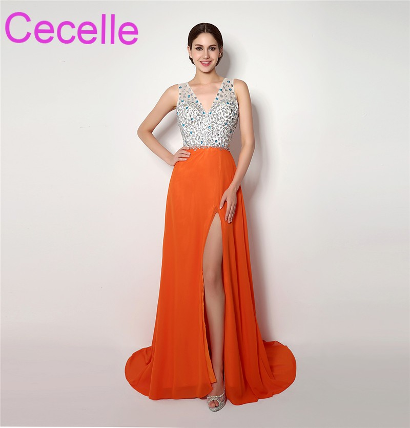 Orange Long Prom Dresses 2018 With Straps V Neckl Beaded Crystals Top Chiffon Skirt With Slit Sexy Open Back Teens Prom Gowns