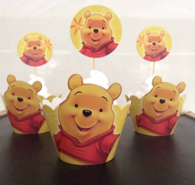 12sets Pooh Bear Paper Cupcake Wrappers Baby Shower Decorations Kids