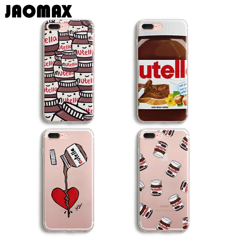 Jaomax Cute Heart Tumblr Nutella Case For iPhone 8 Xs Xr 6 Plus 5 SE 7 Plus X Transparent Soft Silicone Phone Cases Cover Shell