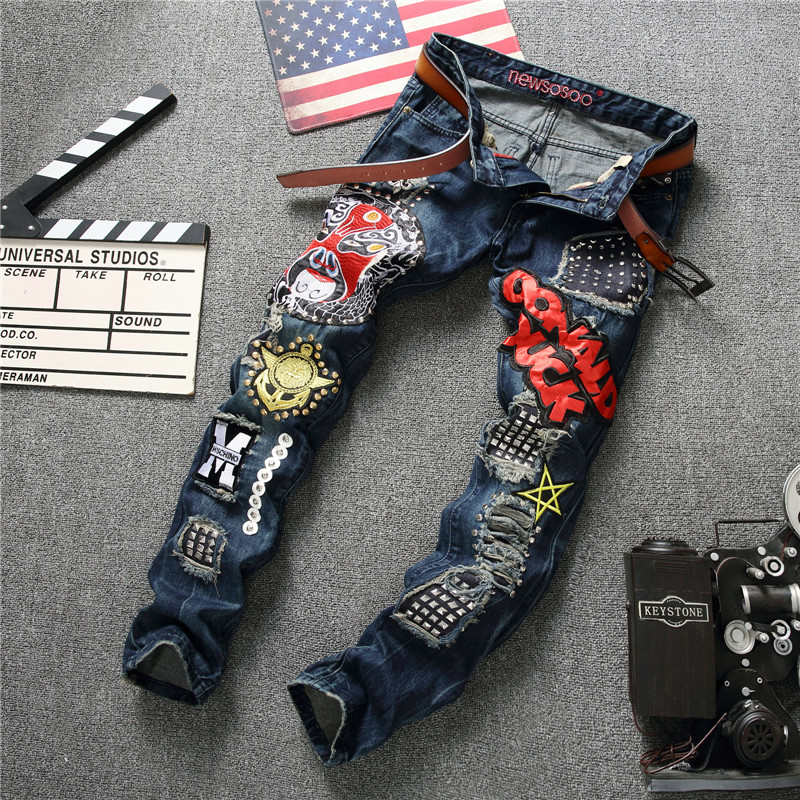 High Quality Punk Jeans Men Fashion Designer Ripped Rap Sequins Jeans Elastic Pants Slim Biker Denim Overalls Men Hip Hop Pants