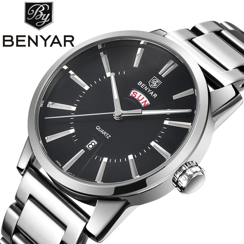 Benyar 2017 Top Brand Business Men Male Luxury Watch Casual Steel Leather Calendar Wristwatches Quartz Watches Relogio Masculino