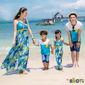 Matching Family Clothes Summer 2015 Korean Holiday Beach Maxi Dress Mother Daughter Outfits T shirt for Father Son kids clothes