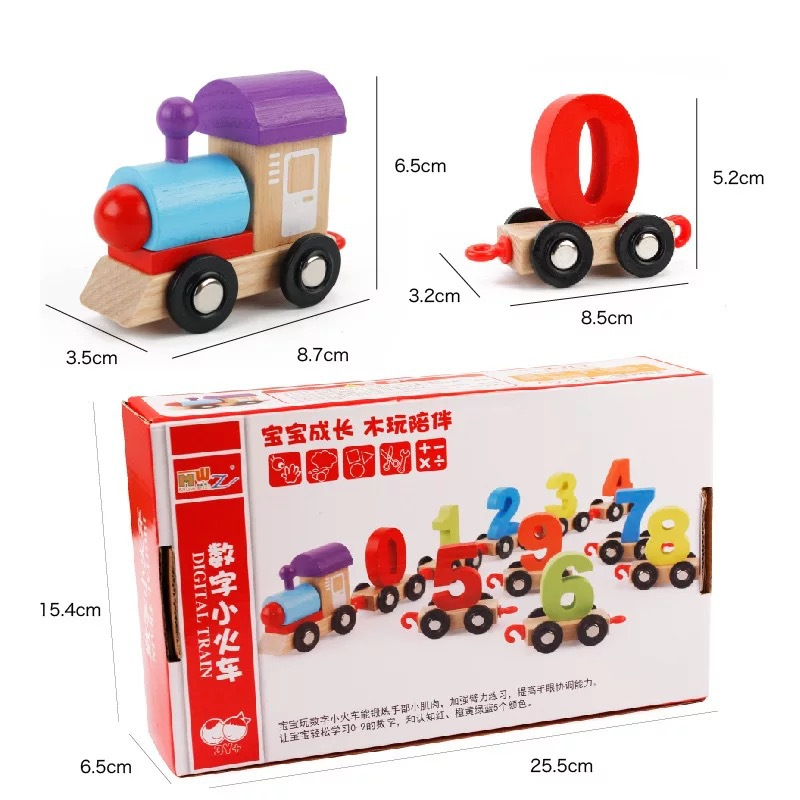 Baby Montessori Soft Wood Train Figure Model Toy with Number Pattern 0 9 Blocks Educational kids Wooden Toy children gifts in Diecasts Toy Vehicles from Toys Hobbies
