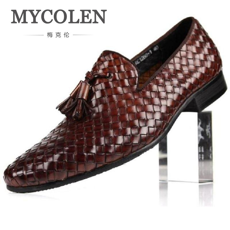 MYCOLEN Men Shoes Luxury Genuine Leather Fashion Business Dress Moccasins Flats Slip On Casual Business Woven Pattern Loafers mycolen men loafers leather genuine luxury designer slip on mens shoes black italian brand dress loafers moccasins mens