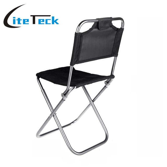 Black Portable Folding Aluminum Oxford Cloth Chair Outdoor Fishing Camping  Chairs With Backrest Carry Bag