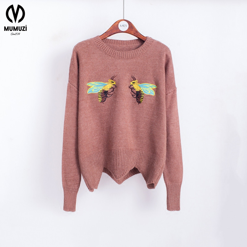 2017 Autumn Sweater female short design winter cute bee embroidery basic shirt pullover sweater top womens knitted tops