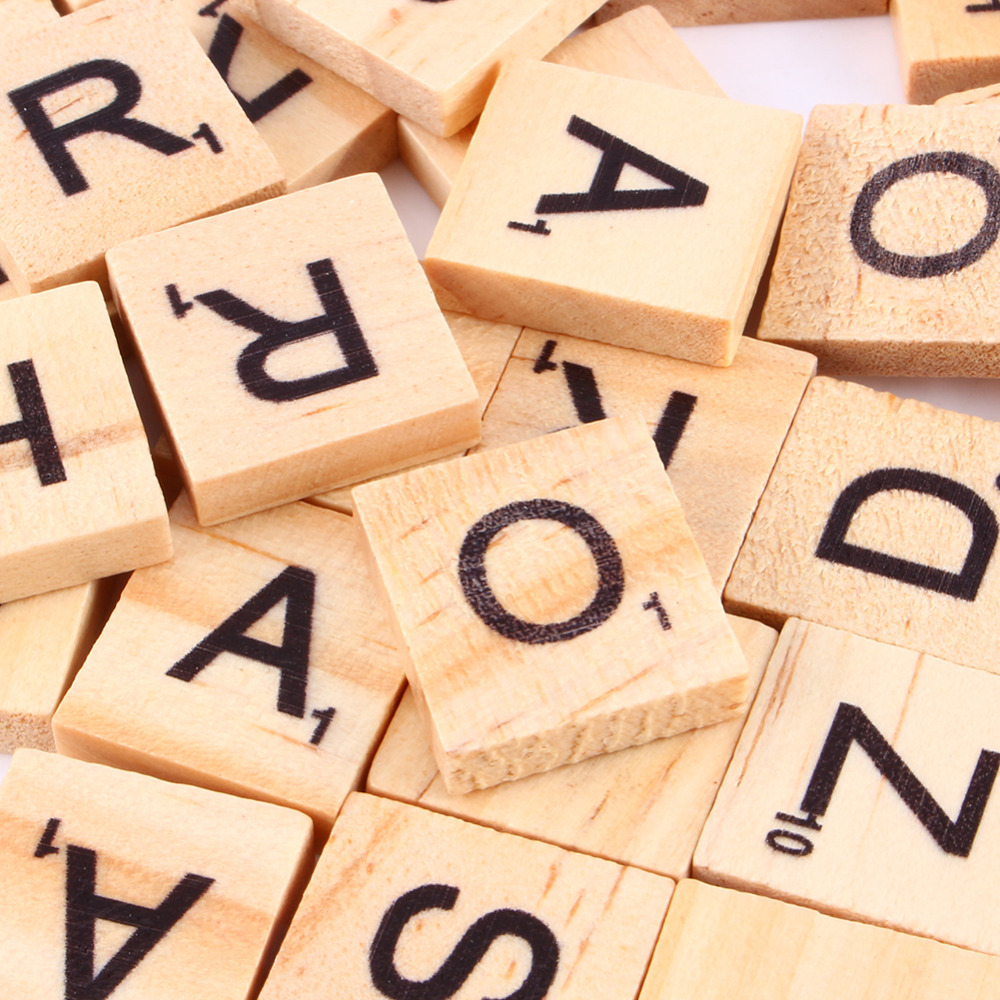 100pcs wooden alphabet scrabble tiles black letters numbers for