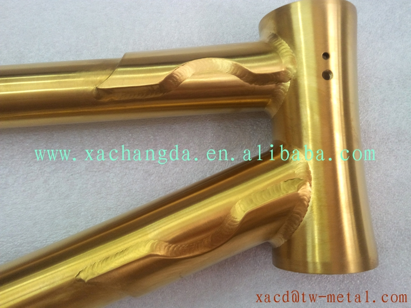 anodized titanium BMX bicycle frame golden titanium bmx bike frame ...