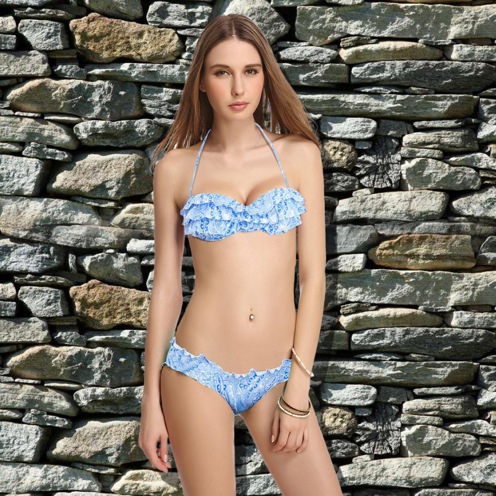 Bikini set 2019 Summer style Women's Swimsuits High Quality push-up Retro Biquinis  Brazilian Swimwear Blue