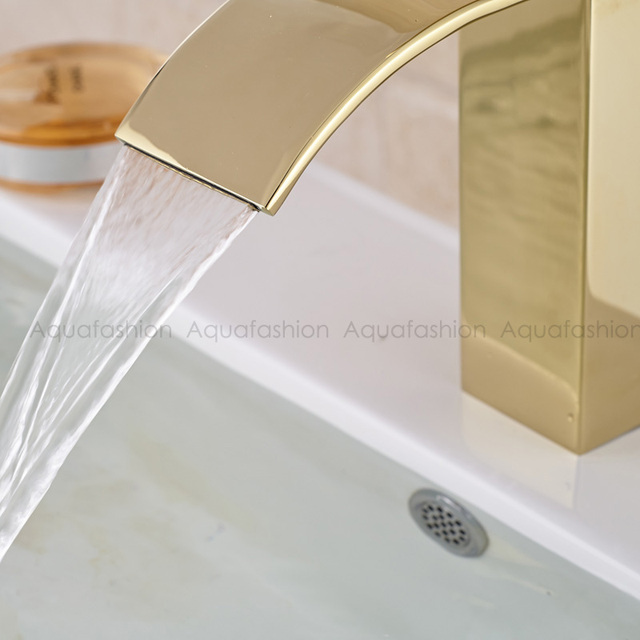 Gold Bathroom Faucet Waterfall Single Handle  Golden Tap Bathroom Basin torneira Hot Cold Gold / Chrome Faucet