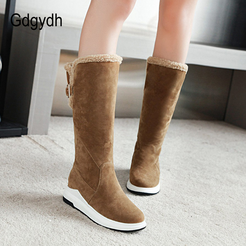 Gdgydh Knee High Boots Ladies Winter Warm Shoes Women 2018  New Arrival Metal Buckle Women Snow Boots Shoes Good Quality
