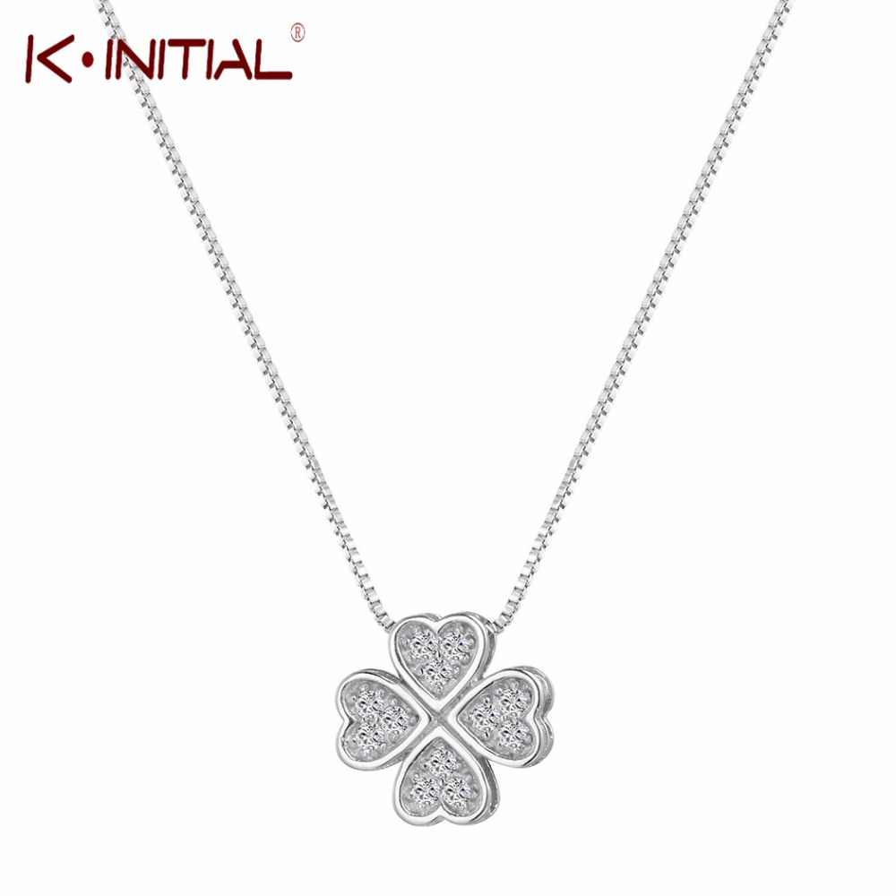 Kinitial 925 Sterling Silver Jewelry Love Clover Necklaces & Pendants Rhinestones Fashion Choker Maxi Necklace Women Collares