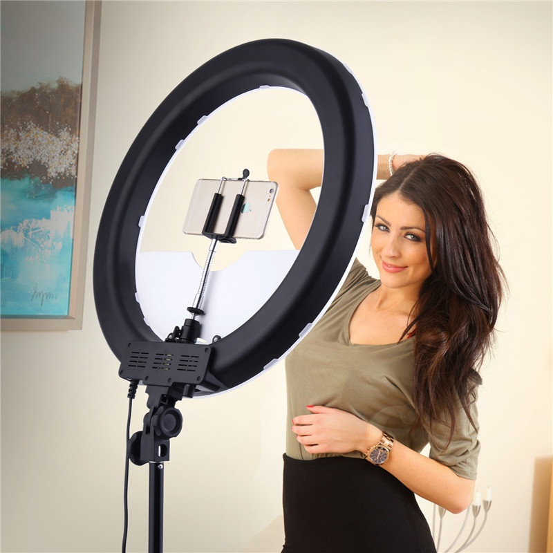 Caméra Photo/vidéo/téléphone RL-18 55 W 240 LED 5500 K photographie Dimmable anneau vidéo lampe avec miroir de lune/support de trépied