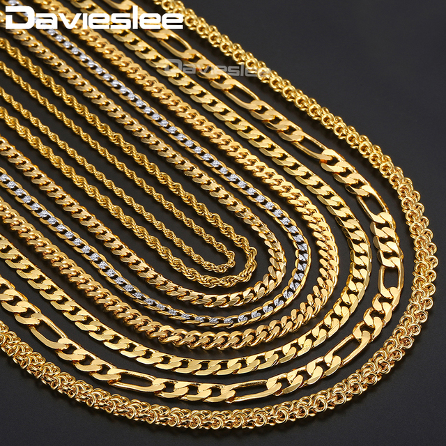 Gold Necklaces for Women Men Figaro Hammered Snake Curb Gold Filled Mens Womens Necklace Chain Fashion Jewelry 2 3 4 5 6mm DGNN2