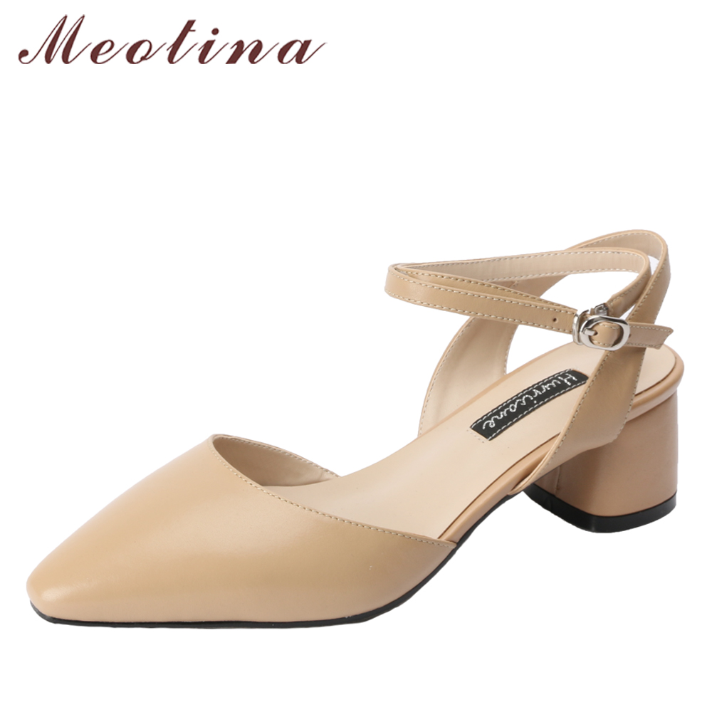 Meotina Genuine Leather Women Pumps Slingbacks Mid High Heels Lady Party Shoes Pointed Toe Ankle Strap Thick Heel Leather Shoes 5 colors ankle strap lady wedding shoes women red thick high heel pumps lady square toe black dress shoes size34 43