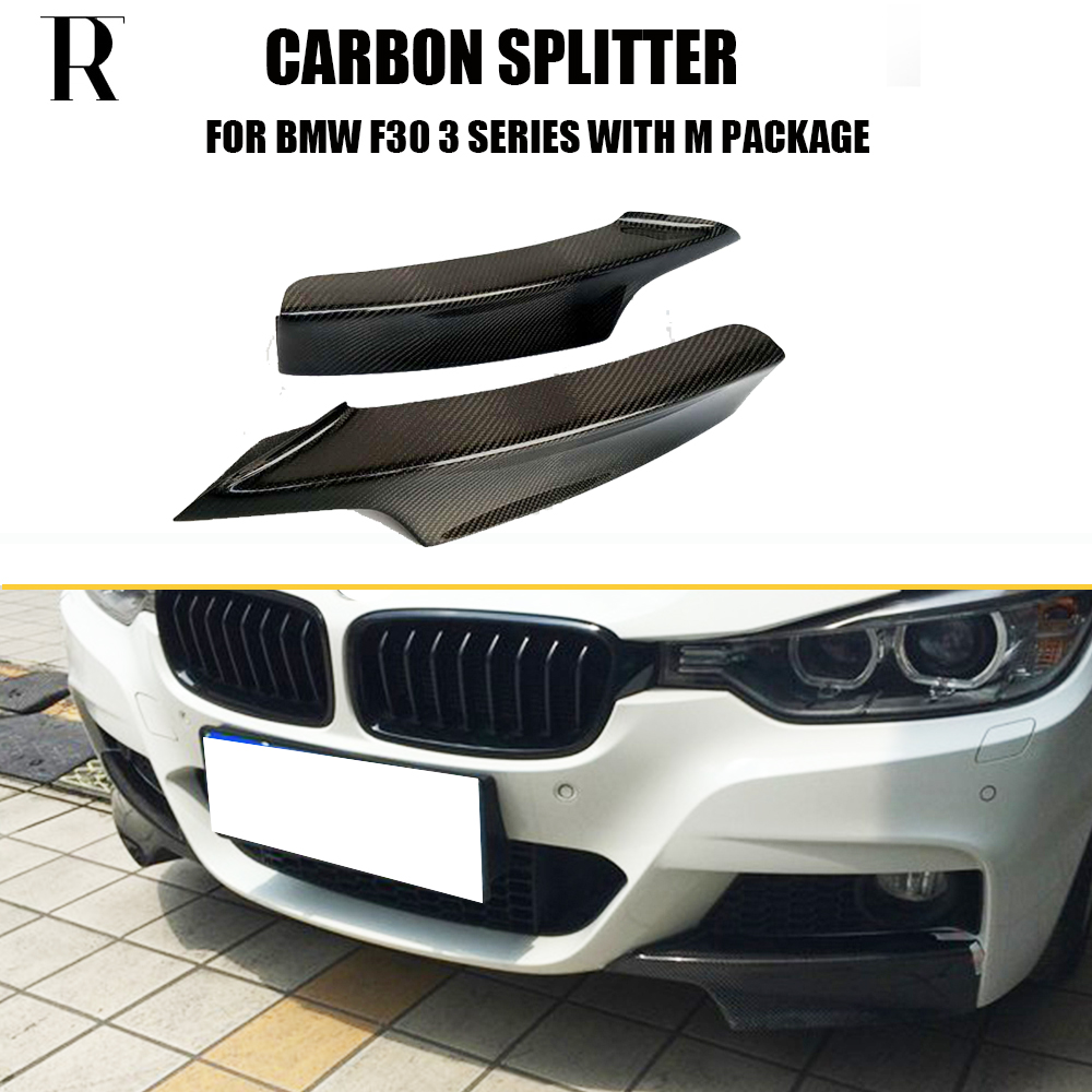 F30 Carbon Fiber Front Bumper Lip Side Splitter Apron for BMW F30 320i 328i 330i 335i 320d 325d 330d 335d M-tech M-sport Bumper replacement style for bmw 3 series 2013 2014 2015 2016 up 320i 328i 330i 335i 320 f30 carbon fiber side mirror cover