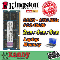 Kingston Notebook Laptop Memory RAM DDR3 2GB 4GB 8GB 1333MHz 204 Pin SODIMM Non ECC Wholesale